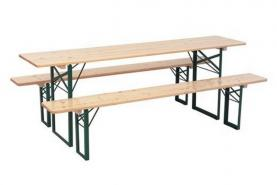 Emplacement Table pliante - Table + bancs brasseur - Ensemble brasserie en location