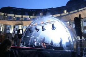 Locatie Stage en podium - Tunnel Roof 10m x 6 m - prijs montage en demontage bij de huur inbegrepen