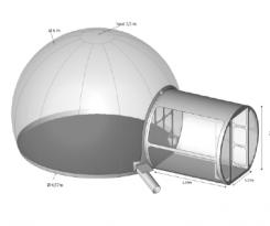 Location Sphère de 5M avec SAS d'entrée en location pour vos événements, foires, salons, réceptions...