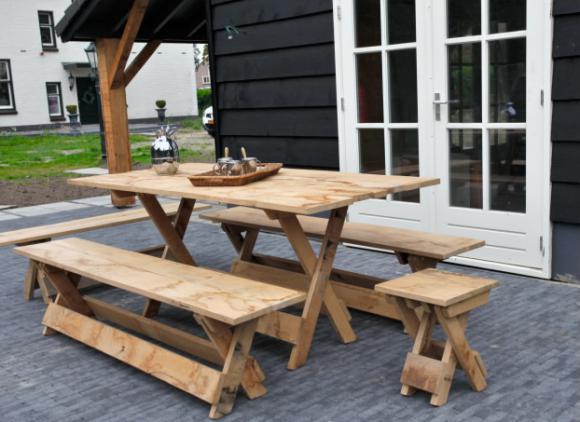 Verhuur houten tafel receptietafel salontafel for Verhuur tafels